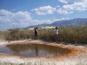 Drew and Adriana mapping the perimeter of Poza Roja