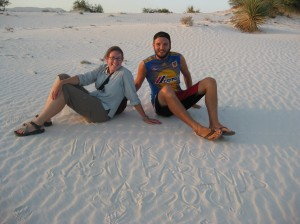 Jess and Drew in the Dunas del Yeso (Gypsum Dunes), in the Cuatro Cienegas Valley