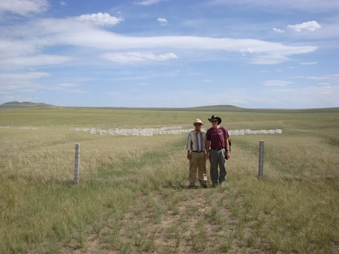 Shuguang and Jon in front of the N-fertilized plots